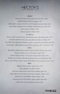 Hector's Bistro Sample Menu